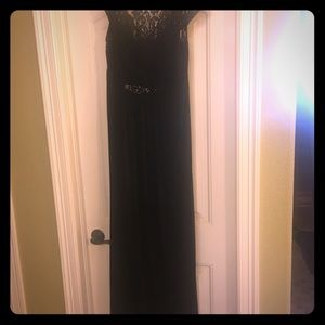 Adrianna Papell Floor Length Black Lace Gown